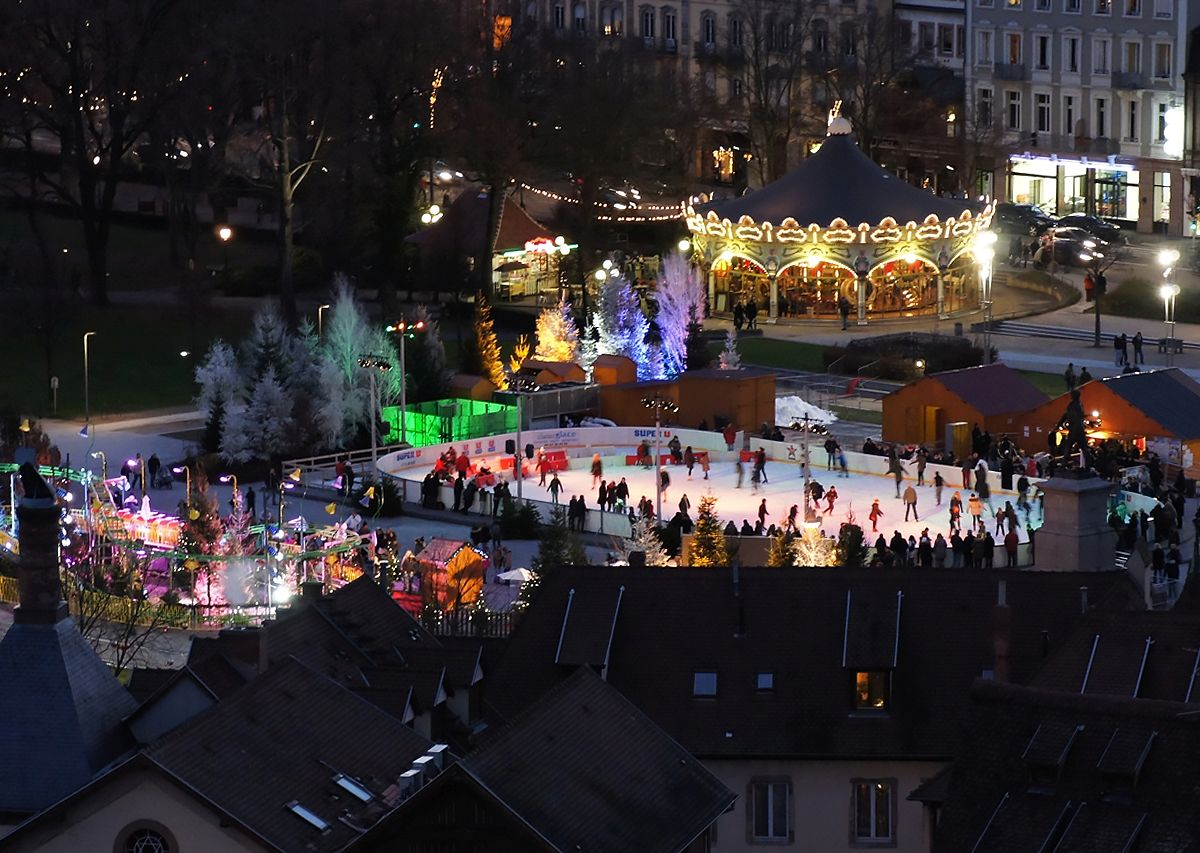 Christmas Ice Skating Rink Decoration.Colmar Alsace France Tourist Office Christmas Ice Skating