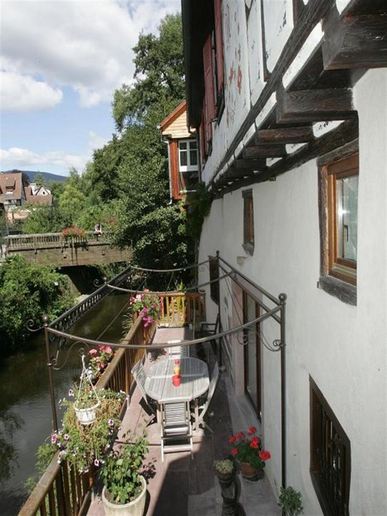 Vue de la terrasse le long de la rivière la Weiss.