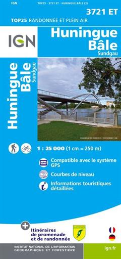 Carte IGN 3721 ET Huningue - Bâle