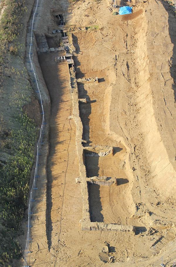 Luftaufnahme der Ausgrabungen