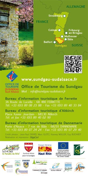 Map of the Sundgau by bike Ferrette