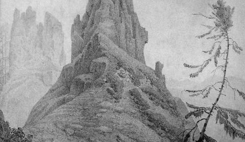 Lithographie 'Vue sur le Château de la Roche' en Alsace (Musée Jean-Frédéric Oberlin)