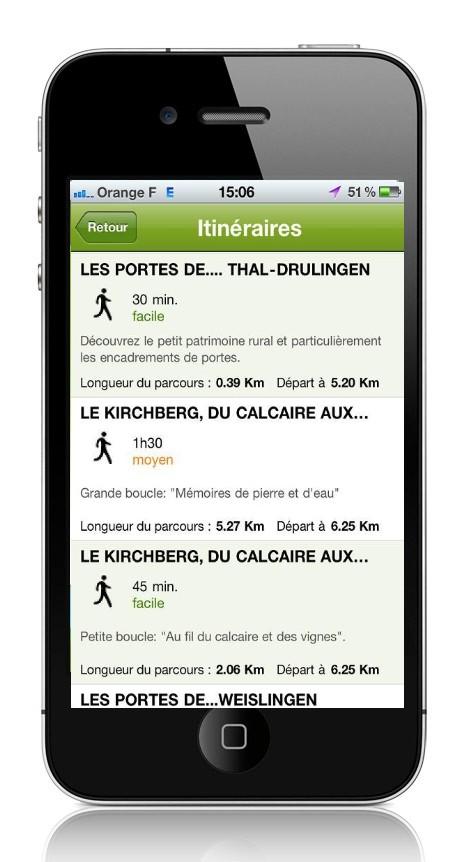 Itinéraires sur Smartphone